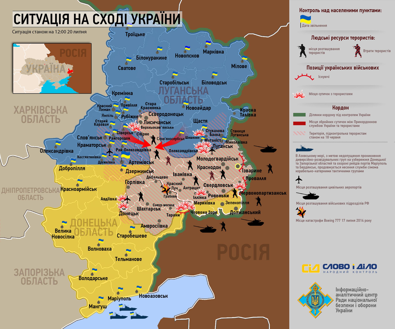 Карта АТО по состоянию на 20 июля